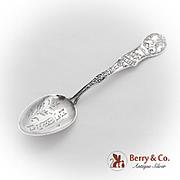 Pueblo Souvenir Spoon Engraved Bowl Decorated Handle Sterling Silver