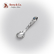 Designer Jesse Claw Baby Spoon Curved Handle Turquoise Sterling Silver