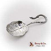 Figural Leaf Tea Caddy Spoon German 800 Standard Silver 1890