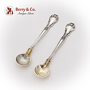 Chantilly Salt Spoons Pair Gilt Bowls Gorham Sterling Silver 1895