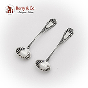 Louis XIV Salt Spoons Pair Dominick And Haff Sterling Silver 1888