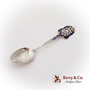 Canada Niagara Souvenir Spoon Figural Handle Enamel Sterling Silver