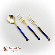 Norwegian Gilt Enamel Cocktail Forks Dessert Spoon Set David Andersen Sterling Silver