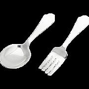 Vintage Baby Flatware Set Spoon Fork Sterling Silver 1940