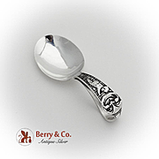 Man In The Moon Baby Spoon Curved Handle Webster Co Sterling Silver 1920