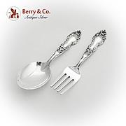 Meadow Rose Baby Flatware Set Spoon Fork Watson Sterling Silver 1907