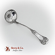 Engraved Swelled Fiddle Tipt Gravy Ladle David Kinsey Coin Silver 1855