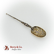 English Gilt Ornate Anointing Spoon Franz Shiebner Sterling Silver 1909 London