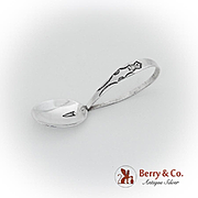 Navajo Engraved Baby Spoon Curved Handle Sterling Silver 1945