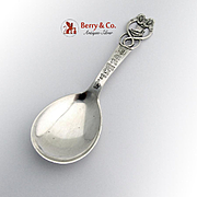 Danish Souvenir Serving Spoon Openwork Viking Ship Handle Sterling Silver