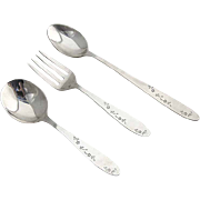 Floral Baby Fork Spoon Infant Feeding Spoon Set Alvin Lullaby Sterling Silver