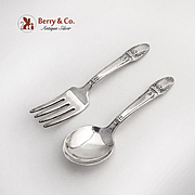 First Love Baby Fork Spoon Set 1847 Rogers Bros International Silverplate 1937