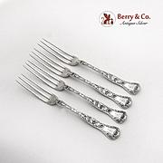 Marguerite Strawberry Forks Set Gorham Sterling Silver Pat 1901
