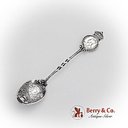 Canadian Souvenir Spoon Crowned Coin Embossed Bowl Sterling Silver