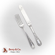 Aesthetic Floral Youth Fork Knife Set Sterling Silver Pat 1883