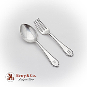 William And Mary Baby Fork Spoon Set Lunt Sterling Silver Pat 1921