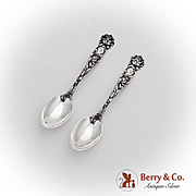 Bridal Rose Demitasse Spoons Pair Alvin Sterling Silver Pat 1903