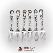 Bridal Rose Dessert Forks Set Alvin Sterling Silver Pat 1903