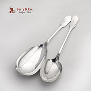 French Serving Spoons Pair Christofle Silverplate 1963 Cluny