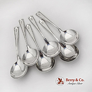 Etruscan Gumbo Chowder Soup Spoons Set Gorham Sterling Silver Pat 1913