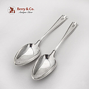 Etruscan Dessert Oval Soup Spoons Pair Gorham Sterling Silver Pat 1913