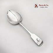 Fiddleback Large Berry Casserole Spoon Old Newbury Crafters Sterling 1950