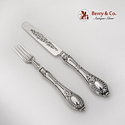 Early Victorian Youth Flatware Set Hollow Handles All Sterling Silver 1848 Birmingham