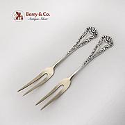 Vintage Strawberry Forks Pair Gilt Tines Sterling Silver 1890