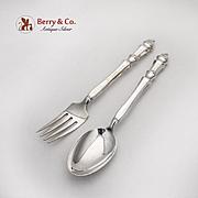Carpenter Hall Salad Fork Dessert Spoon Set Hollow Handles Towle Sterling 1975