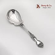 La Reine Berry Casserole Salad Serving Spoon Wallace Sterling Silver 1921