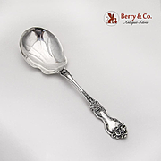 La Reine Berry Casserole Salad Serving Spoon Wallace Sterling Silver 1921