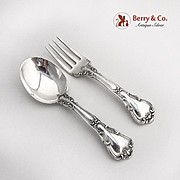 Chantilly Baby Flatware Fork Spoon Set Gorham Sterling Silver 1950