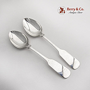 Old English Tipt Oval Soup Dessert Spoons Pair Gorham Sterling Silver 1950
