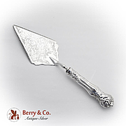 Italian Large Ornate Pie Server Knife Stainless Blade Sterling Silver 1970