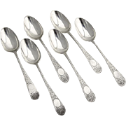 English Engraved Floral Demitasse Spoons Set Sterling Silver Glasgow 1884