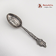 Los Angeles Souvenir Spoon Mission Embossed Bowl Mayer Bros Sterling Silver