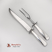 Fiddleback Hammered Carving Fork Knife Set Stainless Steel Sterling Silver 1810