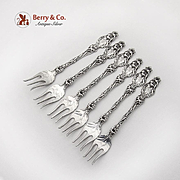 Lily Cocktail Forks Set Whiting Mfg Co Sterling Silver Pat 1902