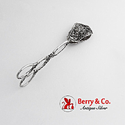 Ornate Openwork Floral Serving Tongs German 800 Silver 1930
