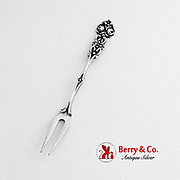 Vintage Floral Strawberry Fork 800 Silver 1960