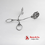 Openwork Floral Scroll Serving Tongs German 800 Silver 1900