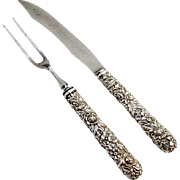 Repousse Small Carving Set Sterling Silver Handles S Kirk And Son 1900