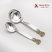 Celtic Weave Gold Sugar Spoon Gravy Ladle Set Towle Sterling Silver 1978