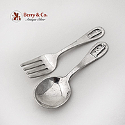 Openwork Bunny Rabbit Engraved Baby Flatware Set Sterling Silver 1920