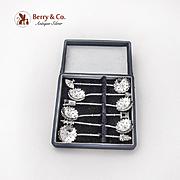 Japanese Salt Spoons Set Flower Bowls Figural Finials 950 Sterling Silver