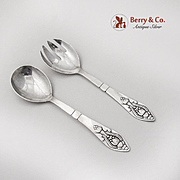 Fuchsia Serving Fork Spoon Set Georg Jensen Sterling Silver 1930 Denmark