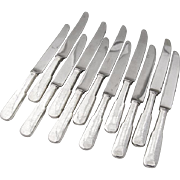 Old Fiddleback Dinner Knives Set New French Stainless Blades Sterling Silver