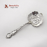 Floral Scroll Candy Nut Spoon Ornate Pierced Bowl Sterling Silver 1894