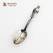 Hawaiian Souvenir Coffee Spoon Figural Handle Embossed Bowl Sterling Silver