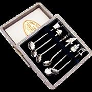 Japanese Figural Salt Spoons Boxed Set 950 Sterling Silver 1960
